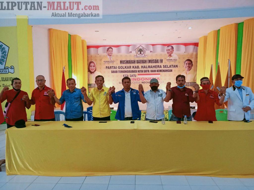 Partai Koalisi Usman-Bassam usai konfrensi Pers di Kantor DPD Golkar Halsel (Foto Redaksi Liputan Malut)